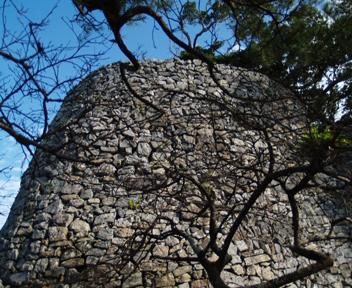 平郎門左手側に突き出た城壁。