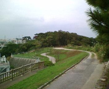 高台から公園北側を見ます