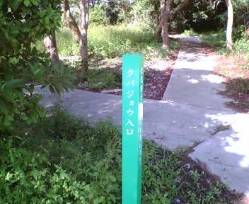 「クバジョウ入り口」の標柱