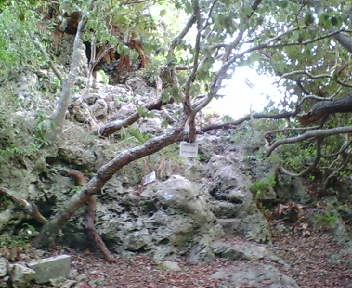 内郭にある岩場